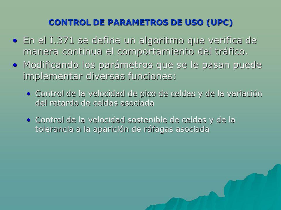 CONTROL DE PARAMETROS DE USO (UPC) En el I.371 se define un algoritmo que verifica de manera continua el comportamiento del tráfico.En el I.371 se define un algoritmo que verifica de manera continua el comportamiento del tráfico.