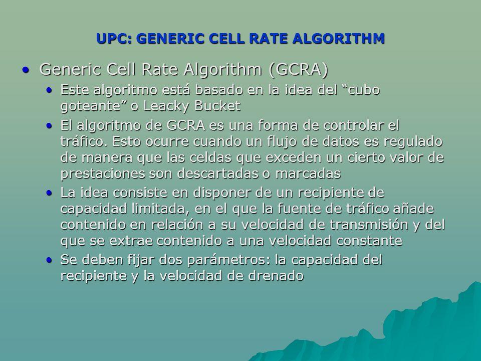 UPC: GENERIC CELL RATE ALGORITHM Generic Cell Rate Algorithm (GCRA)Generic Cell Rate Algorithm (GCRA) Este algoritmo está basado en la idea del cubo goteante o Leacky BucketEste algoritmo está basado en la idea del cubo goteante o Leacky Bucket El algoritmo de GCRA es una forma de controlar el tráfico.