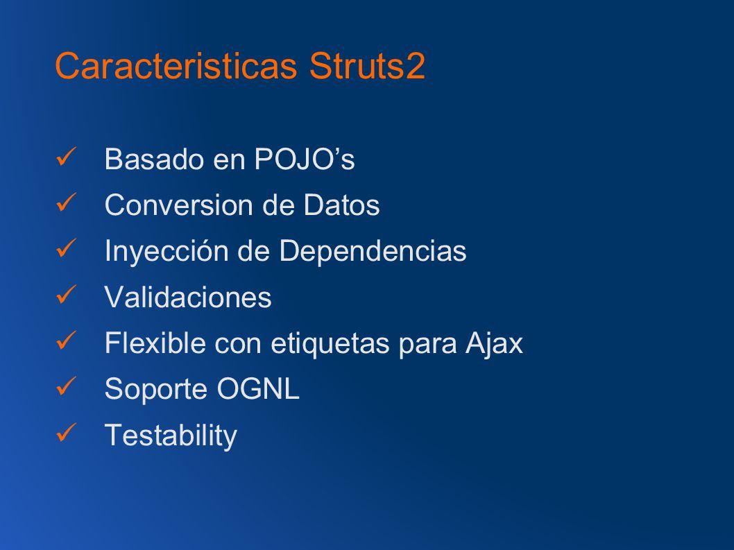 Caracteristicas Struts2 Basado en POJOs Conversion de Datos Inyección de Dependencias Validaciones Flexible con etiquetas para Ajax Soporte OGNL Testability