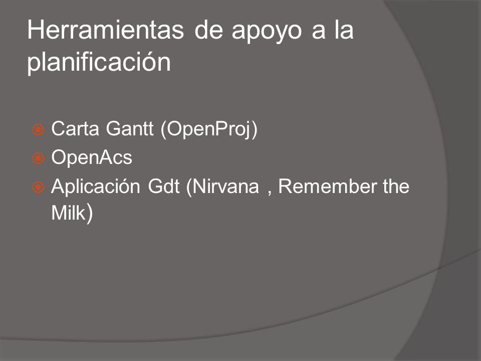 Herramientas de apoyo a la planificación Carta Gantt (OpenProj) OpenAcs Aplicación Gdt (Nirvana, Remember the Milk )