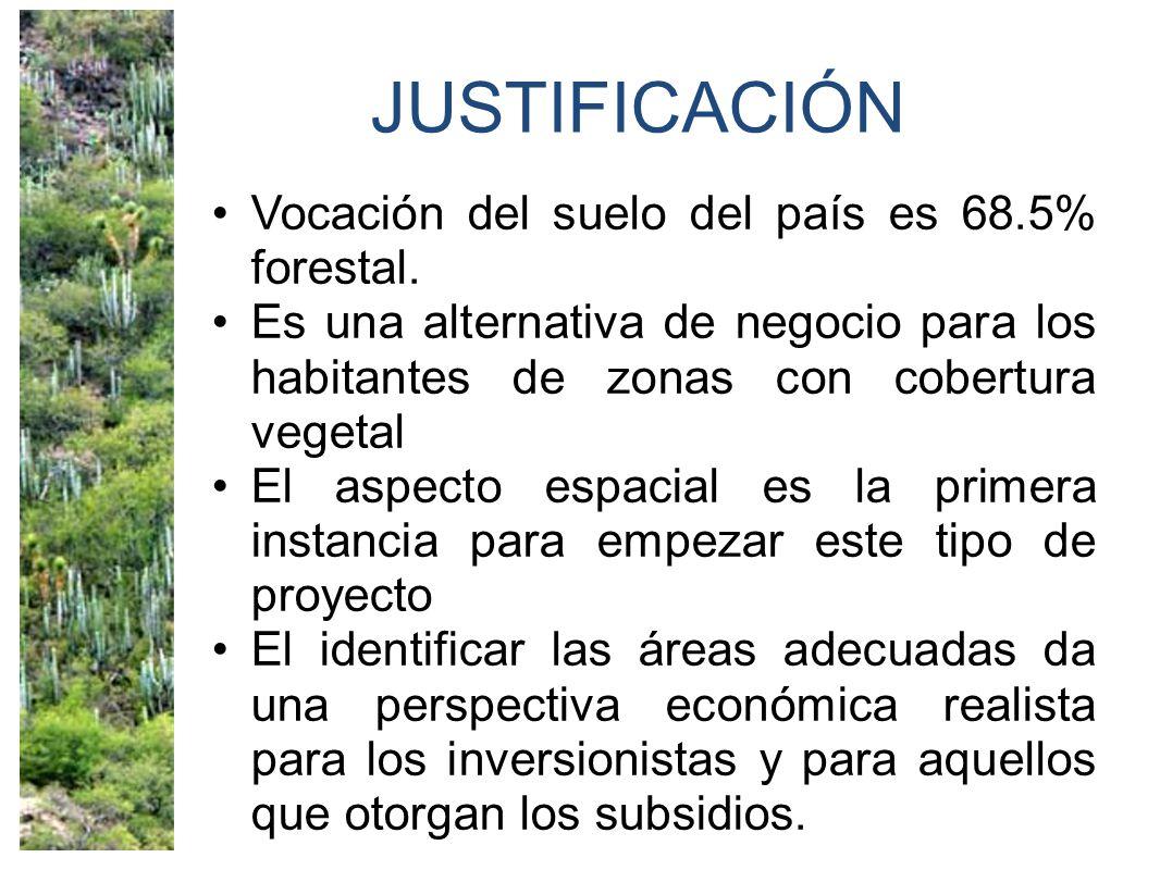 JUSTIFICACIÓN Vocación del suelo del país es 68.5% forestal. Es una alternativa de negocio para los habitantes de zonas con cobertura vegetal El aspec