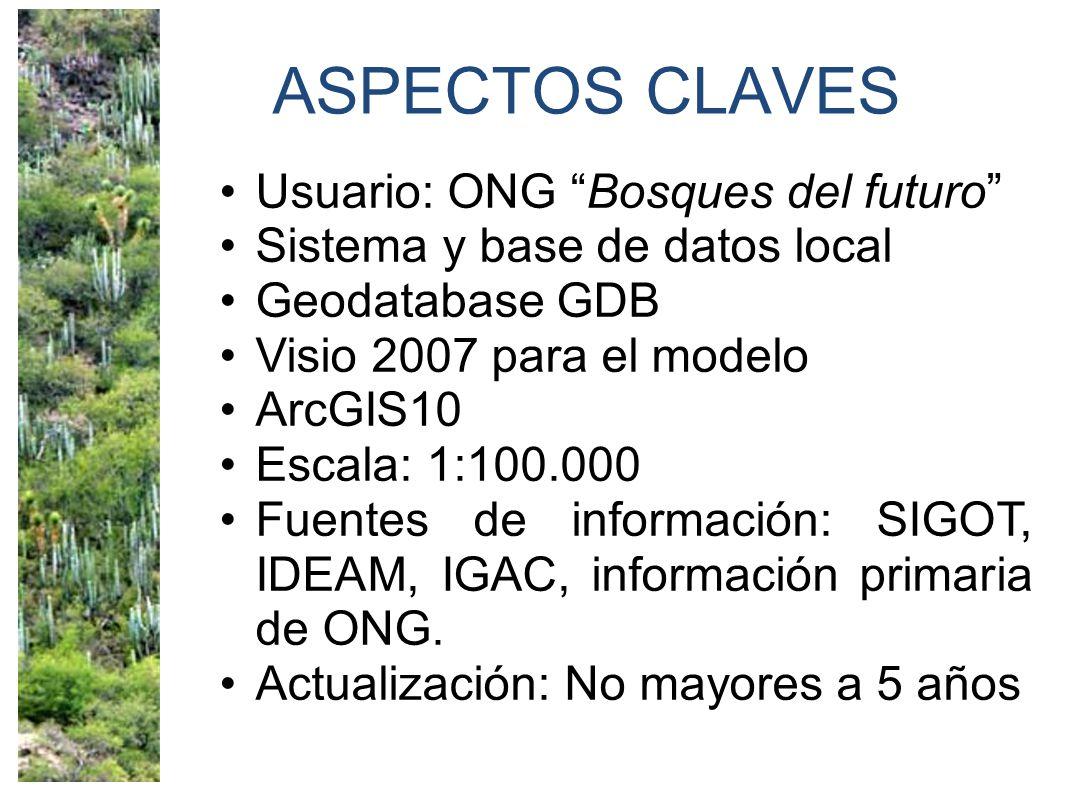 ASPECTOS CLAVES Usuario: ONG Bosques del futuro Sistema y base de datos local Geodatabase GDB Visio 2007 para el modelo ArcGIS10 Escala: 1:100.000 Fuentes de información: SIGOT, IDEAM, IGAC, información primaria de ONG.