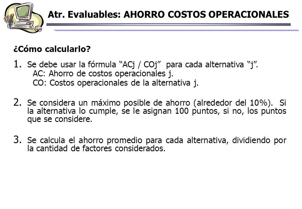¿Cómo calcularlo? 1. Se debe usar la fórmula ACj / COj para cada alternativa j. AC: Ahorro de costos operacionales j. CO: Costos operacionales de la a