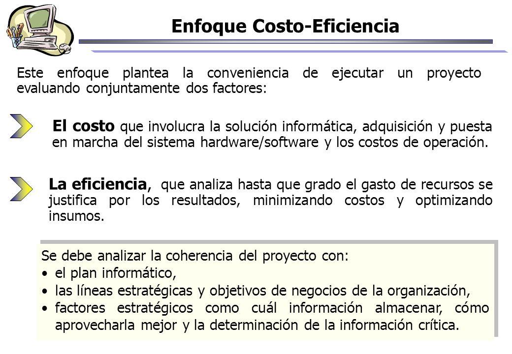 Enfoque Costo-Eficiencia Este enfoque plantea la conveniencia de ejecutar un proyecto evaluando conjuntamente dos factores: El costo que involucra la