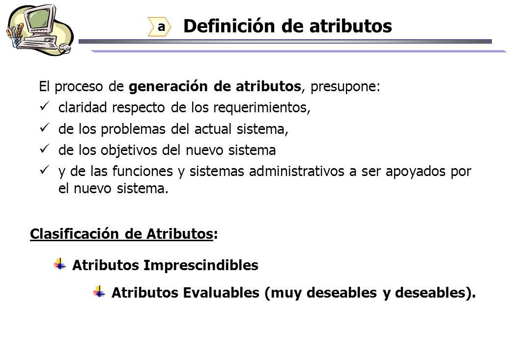 Definición de atributos El proceso de generación de atributos, presupone: claridad respecto de los requerimientos, de los problemas del actual sistema