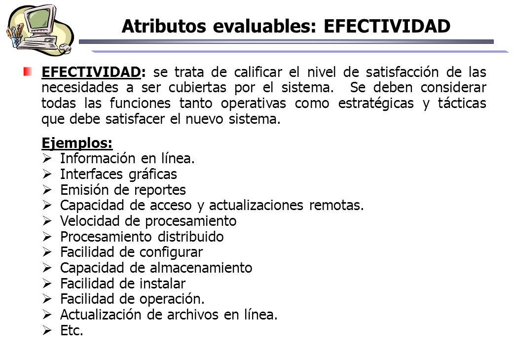 EFECTIVIDAD: se trata de calificar el nivel de satisfacción de las necesidades a ser cubiertas por el sistema. Se deben considerar todas las funciones