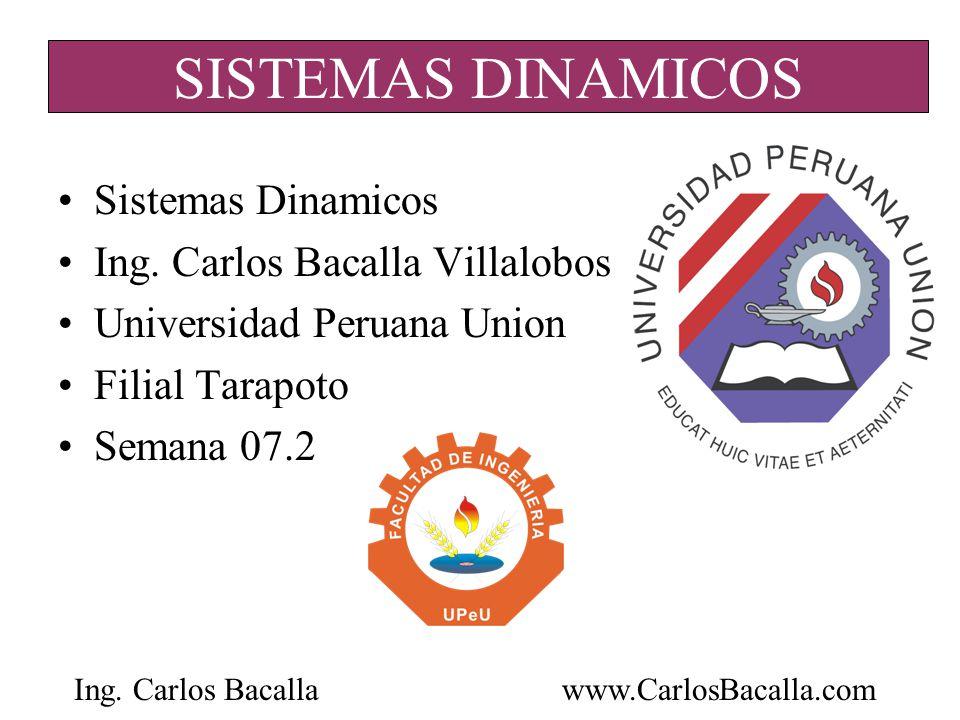 Ing. Carlos Bacallawww.CarlosBacalla.com SISTEMAS DINAMICOS Sistemas Dinamicos Ing. Carlos Bacalla Villalobos Universidad Peruana Union Filial Tarapot