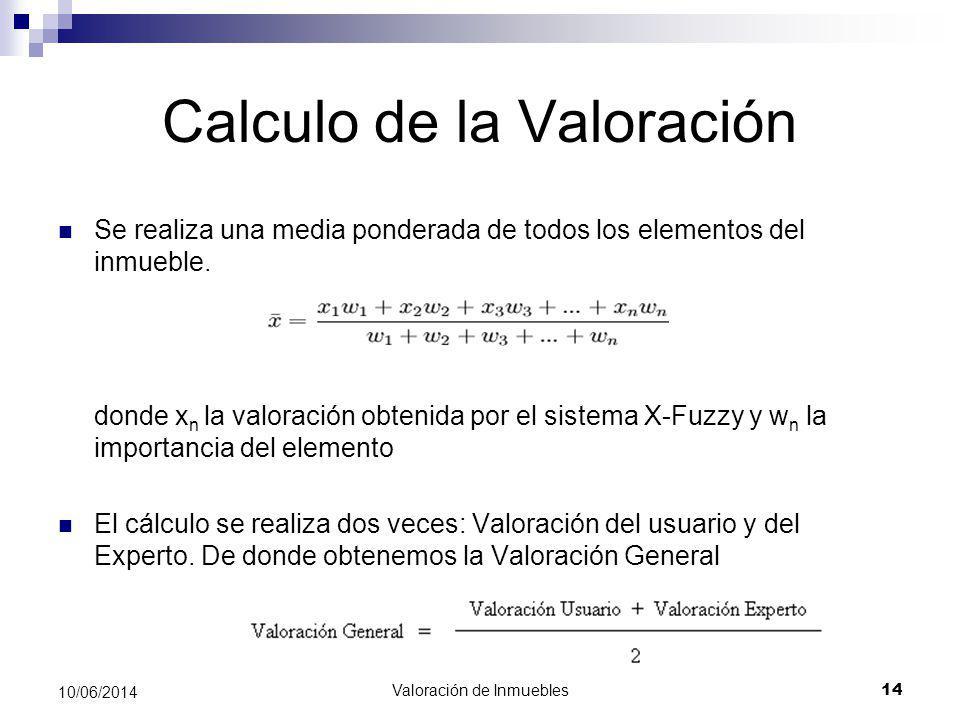 Valoración de Inmuebles 14 10/06/2014 Calculo de la Valoración Se realiza una media ponderada de todos los elementos del inmueble. donde x n la valora