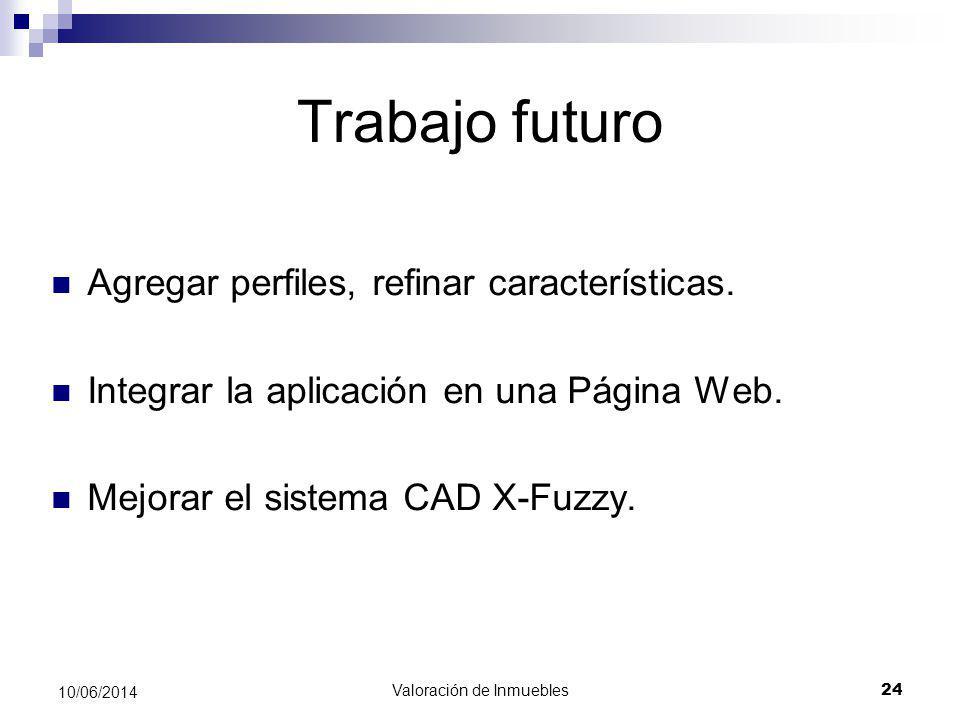 Valoración de Inmuebles 24 10/06/2014 Trabajo futuro Agregar perfiles, refinar características. Integrar la aplicación en una Página Web. Mejorar el s