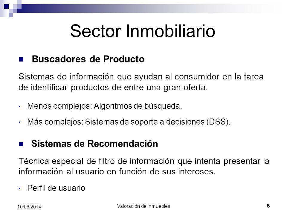 Valoración de Inmuebles 5 10/06/2014 Sector Inmobiliario Buscadores de Producto Sistemas de información que ayudan al consumidor en la tarea de identi