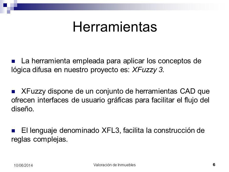 Valoración de Inmuebles 17 10/06/2014 Desarrollo del motor de inferencia: Funciones de inferencia Caja genérica: Entradas: Dato Importancia Salida: Valoración Reglas de inferencia Dato Importancia