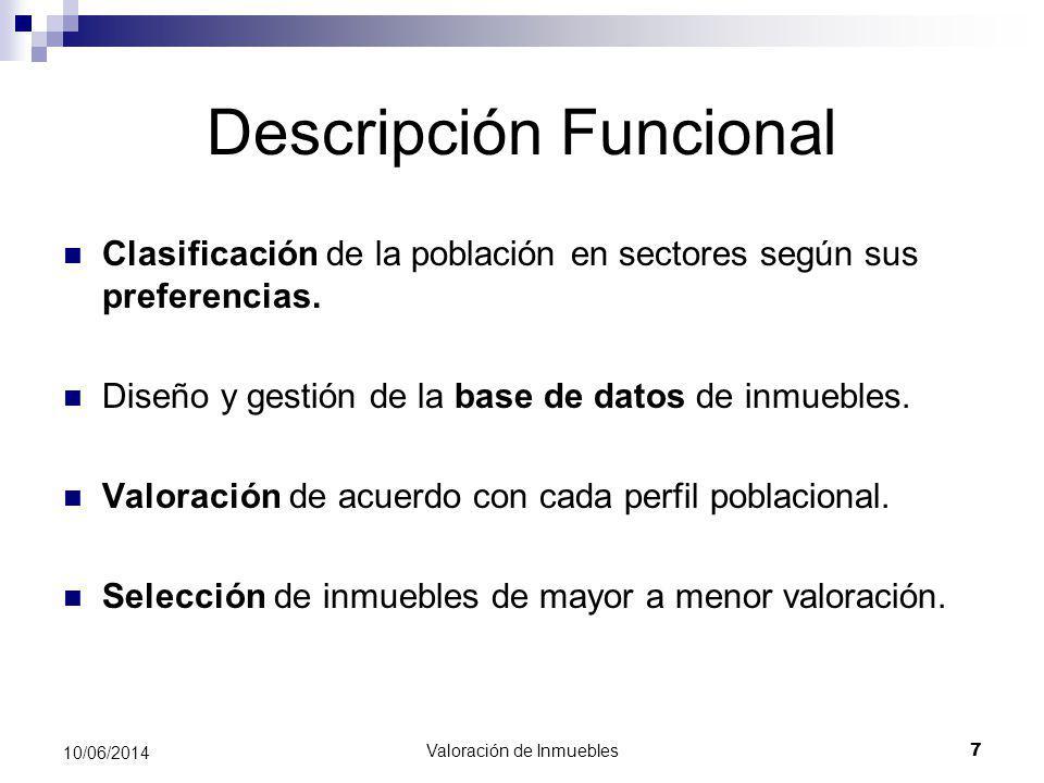 Valoración de Inmuebles 7 10/06/2014 Descripción Funcional Clasificación de la población en sectores según sus preferencias. Diseño y gestión de la ba