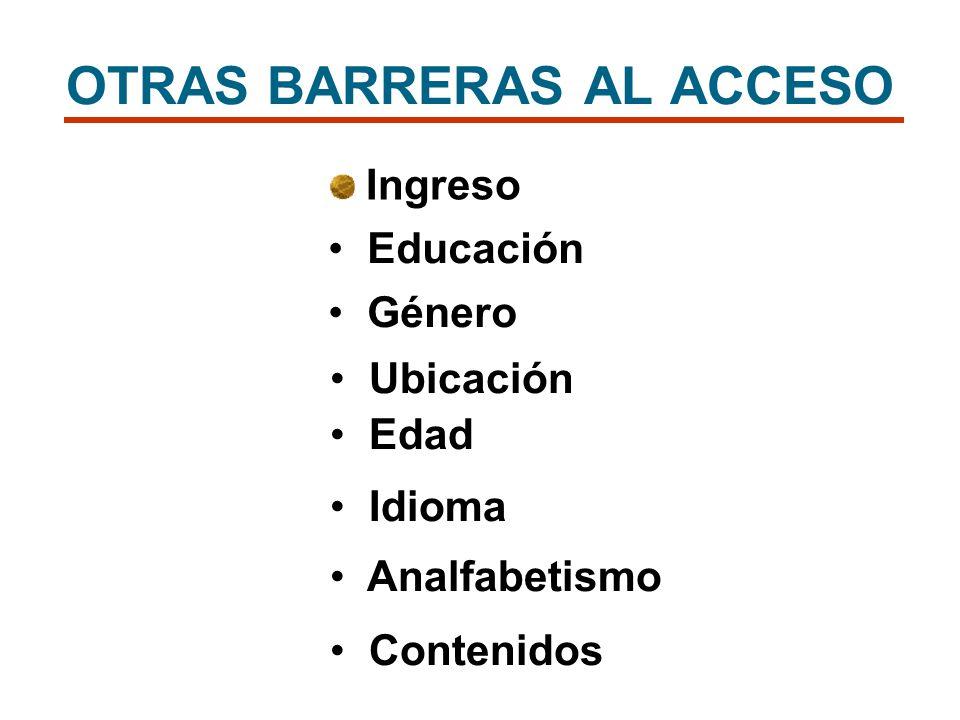 OTRAS BARRERAS AL ACCESO Ingreso Educación Género Ubicación Edad Idioma Analfabetismo Contenidos