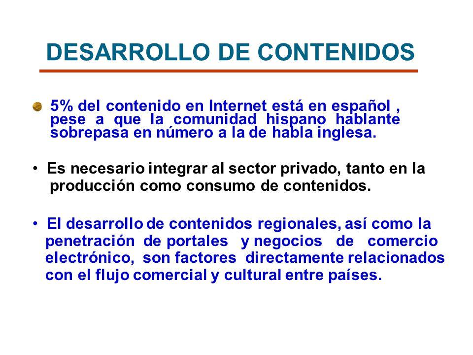 DESARROLLO DE CONTENIDOS 5% del contenido en Internet está en español, pese a que la comunidad hispano hablante sobrepasa en número a la de habla ingl