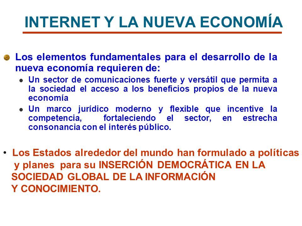 INTERNET Y LA NUEVA ECONOMÍA Los elementos fundamentales para el desarrollo de la nueva economía requieren de: Un sector de comunicaciones fuerte y ve