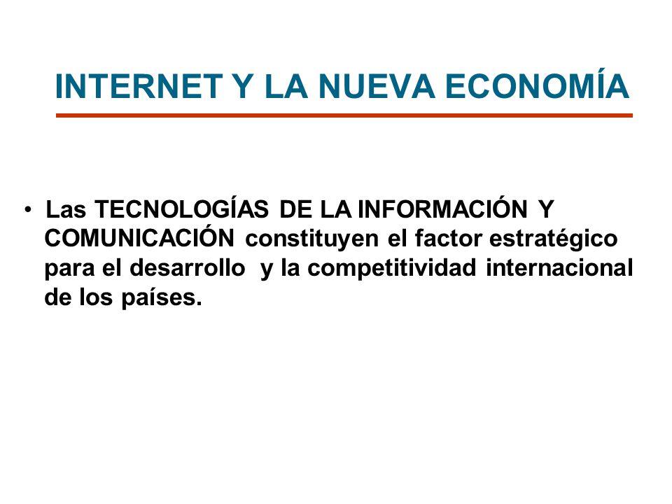 INTERNET Y LA NUEVA ECONOMÍA Las TECNOLOGÍAS DE LA INFORMACIÓN Y COMUNICACIÓN constituyen el factor estratégico para el desarrollo y la competitividad