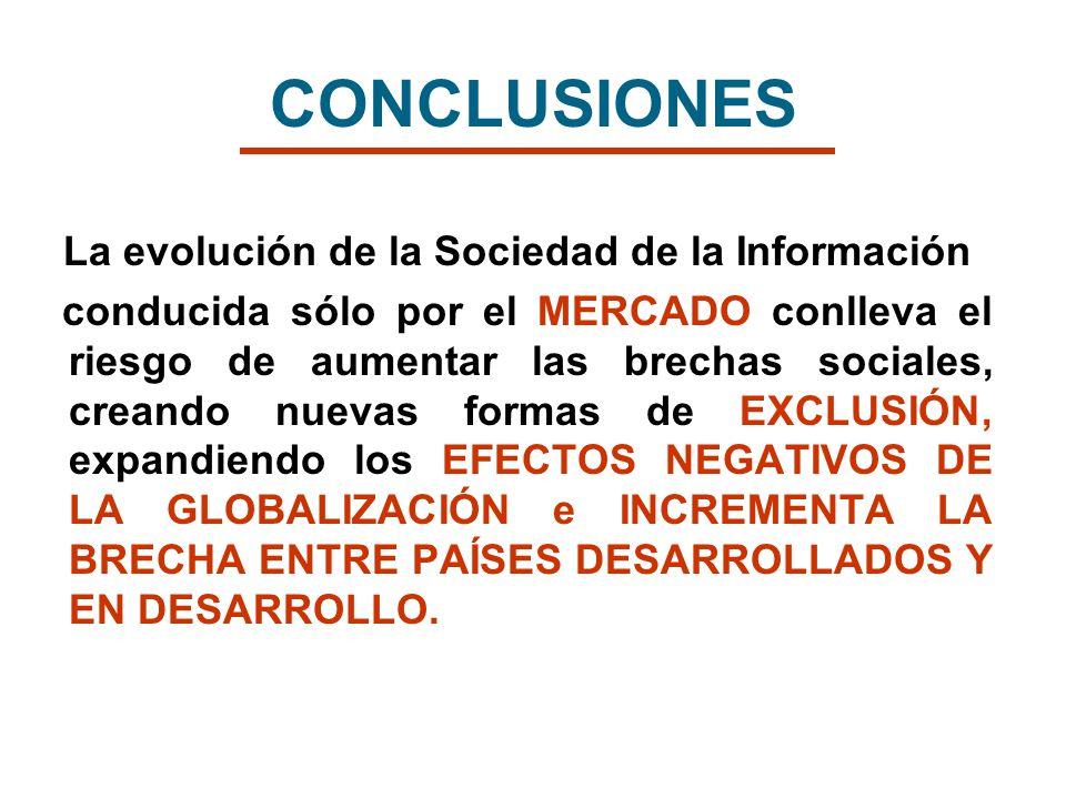CONCLUSIONES La evolución de la Sociedad de la Información conducida sólo por el MERCADO conlleva el riesgo de aumentar las brechas sociales, creando