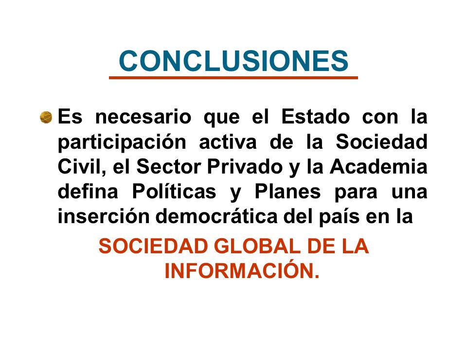 Es necesario que el Estado con la participación activa de la Sociedad Civil, el Sector Privado y la Academia defina Políticas y Planes para una inserc
