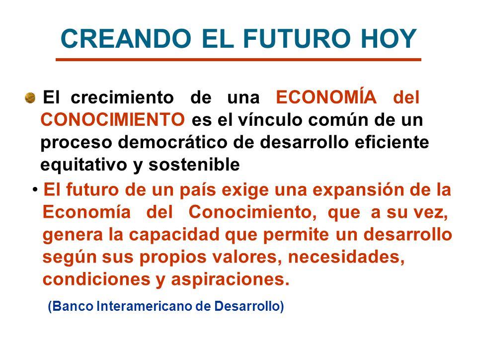 El crecimiento de una ECONOMÍA del CONOCIMIENTO es el vínculo común de un proceso democrático de desarrollo eficiente equitativo y sostenible El futur