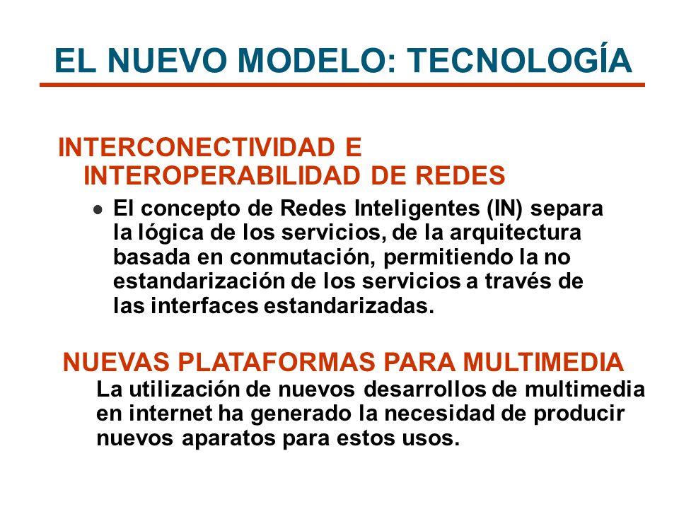 INTERCONECTIVIDAD E INTEROPERABILIDAD DE REDES El concepto de Redes Inteligentes (IN) separa la lógica de los servicios, de la arquitectura basada en
