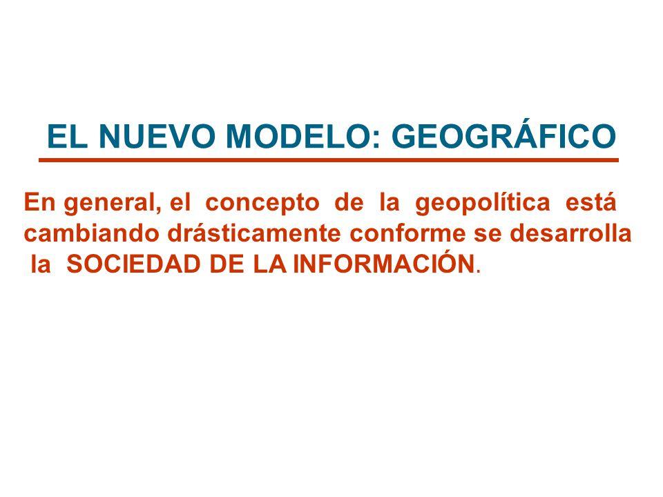 EL NUEVO MODELO: GEOGRÁFICO En general, el concepto de la geopolítica está cambiando drásticamente conforme se desarrolla la SOCIEDAD DE LA INFORMACIÓ