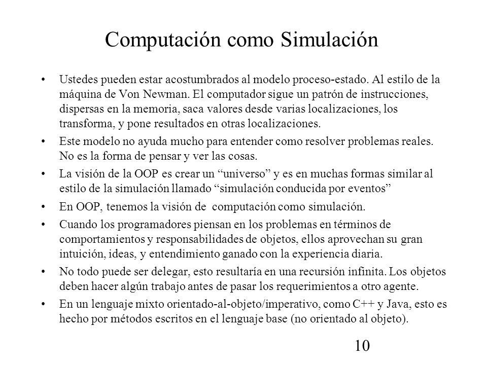 10 Computación como Simulación Ustedes pueden estar acostumbrados al modelo proceso-estado.