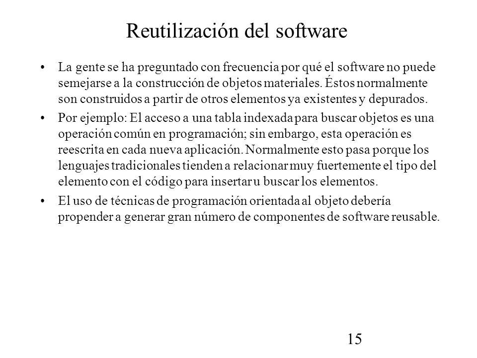 15 Reutilización del software La gente se ha preguntado con frecuencia por qué el software no puede semejarse a la construcción de objetos materiales.