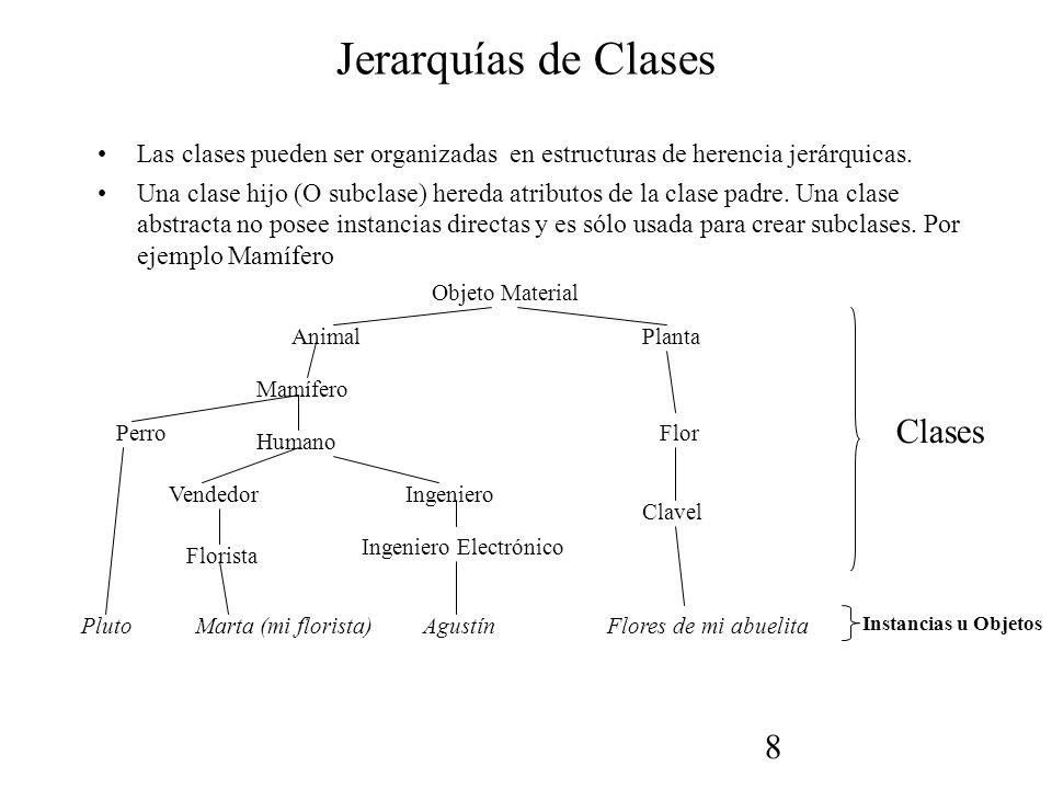 8 Jerarquías de Clases Las clases pueden ser organizadas en estructuras de herencia jerárquicas.