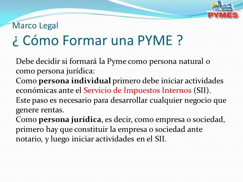 Marco Legal ¿ Cómo Formar una PYME ? Debe decidir si formará la Pyme como persona natural o como persona jurídica: Como persona individual primero deb