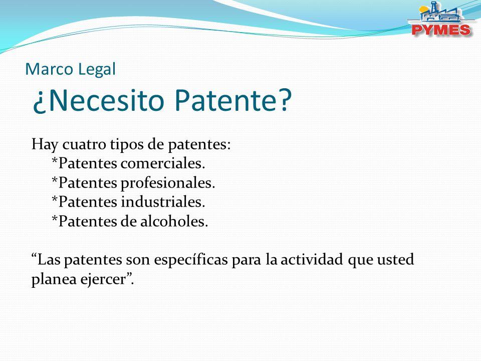 Marco Legal ¿Necesito Patente? Hay cuatro tipos de patentes: *Patentes comerciales. *Patentes profesionales. *Patentes industriales. *Patentes de alco