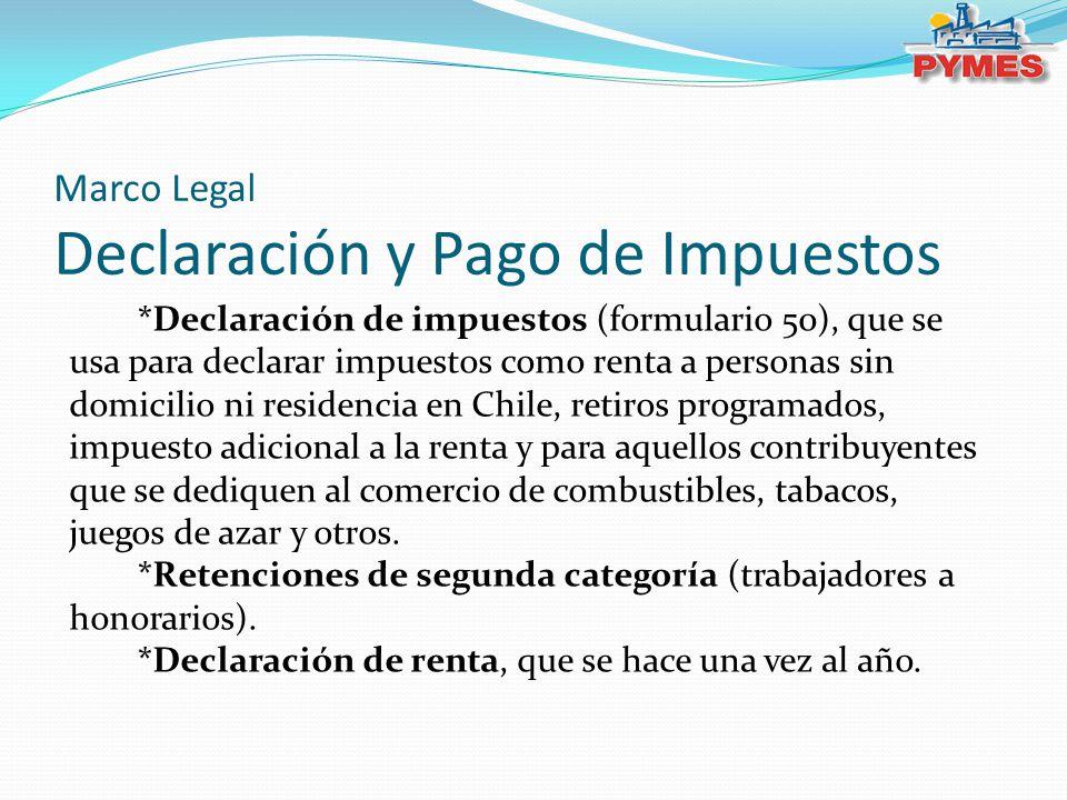 Marco Legal Declaración y Pago de Impuestos *Declaración de impuestos (formulario 50), que se usa para declarar impuestos como renta a personas sin do