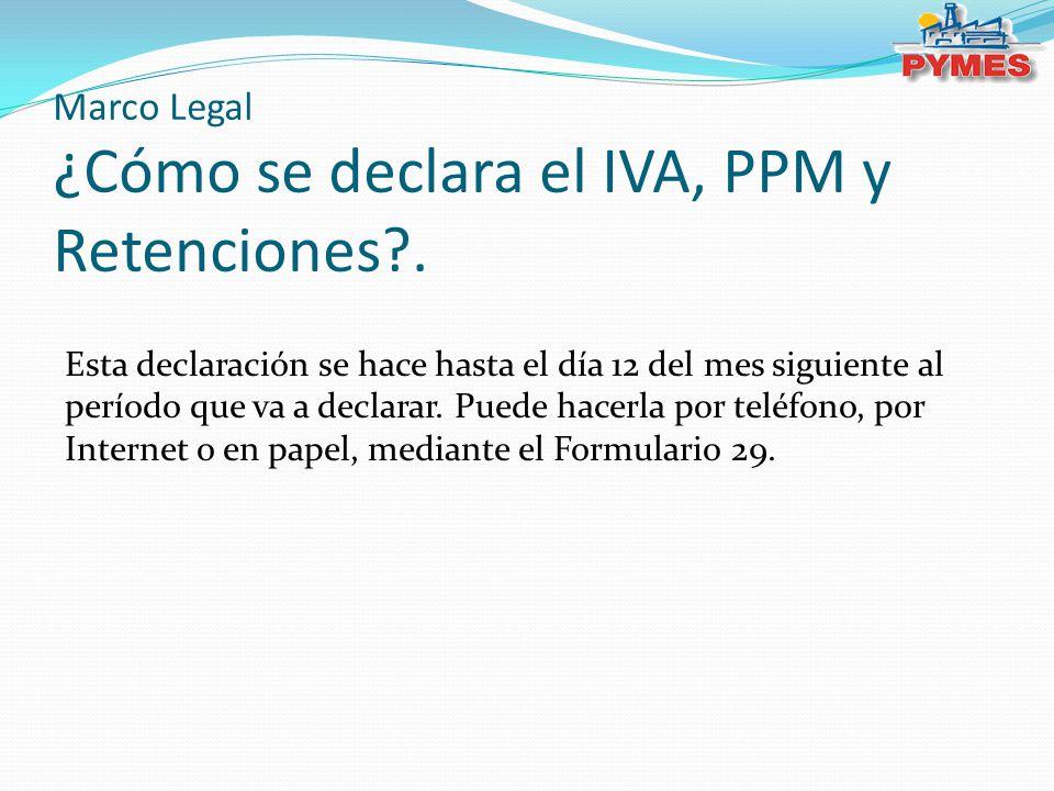 Marco Legal ¿Cómo se declara el IVA, PPM y Retenciones?. Esta declaración se hace hasta el día 12 del mes siguiente al período que va a declarar. Pued