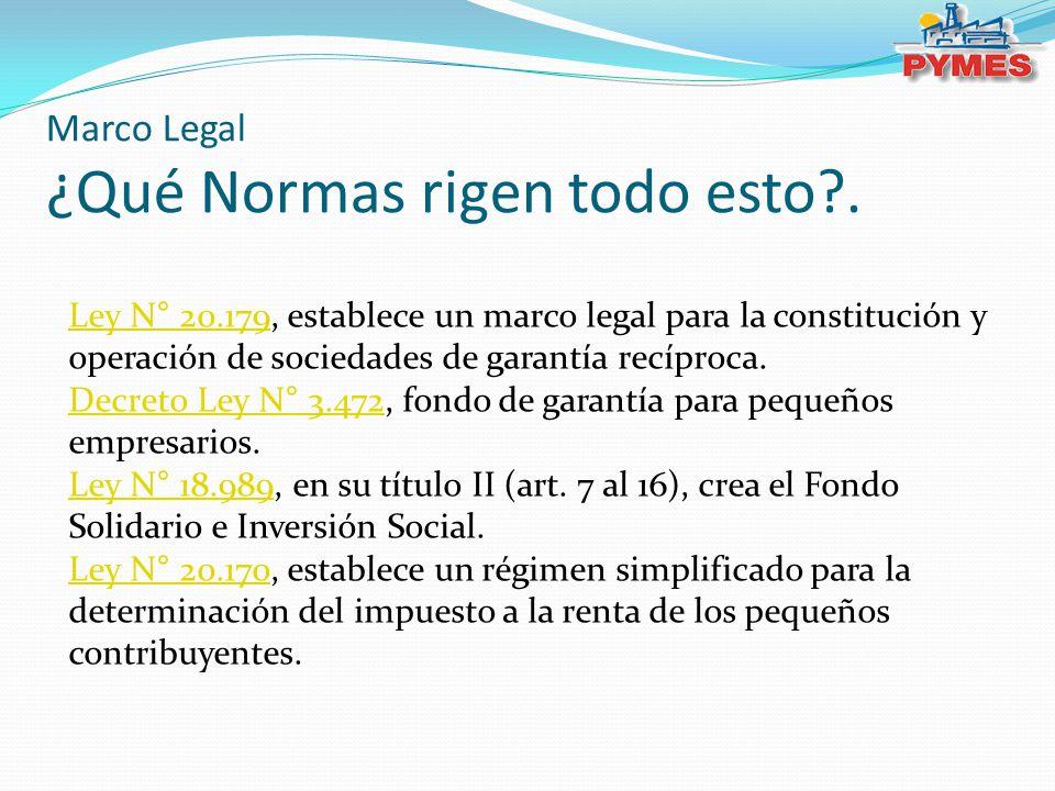 Ley N° 20.179Ley N° 20.179, establece un marco legal para la constitución y operación de sociedades de garantía recíproca. Decreto Ley N° 3.472Decreto