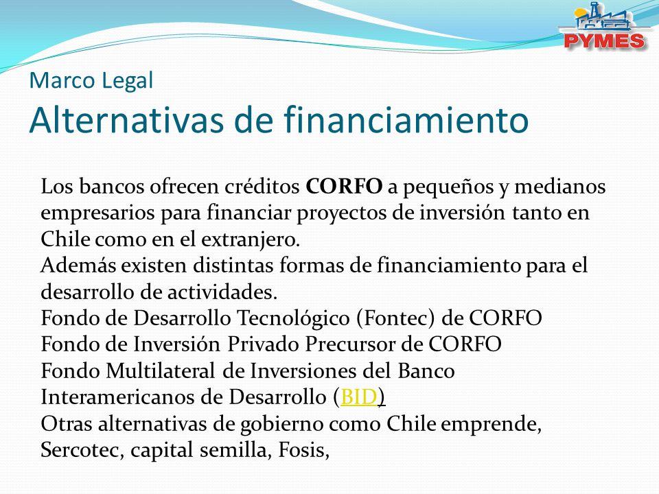 Los bancos ofrecen créditos CORFO a pequeños y medianos empresarios para financiar proyectos de inversión tanto en Chile como en el extranjero.