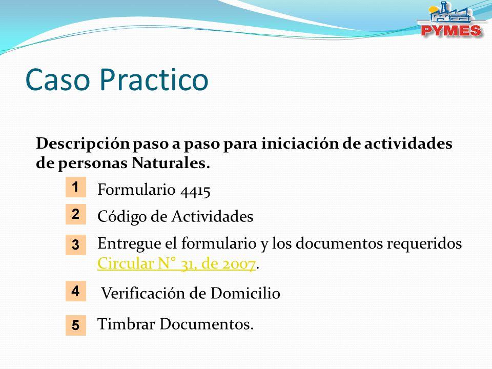 Caso Practico Descripción paso a paso para iniciación de actividades de personas Naturales. Código de Actividades Entregue el formulario y los documen