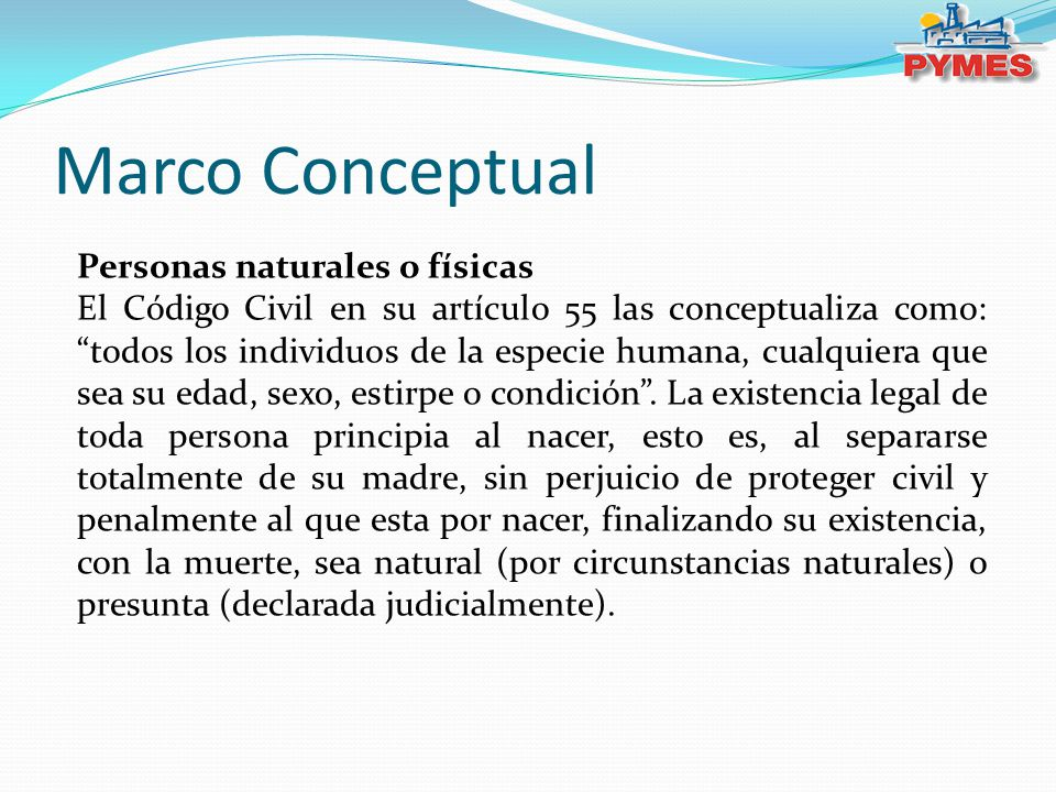 Marco Conceptual Personas naturales o físicas El Código Civil en su artículo 55 las conceptualiza como: todos los individuos de la especie humana, cualquiera que sea su edad, sexo, estirpe o condición.