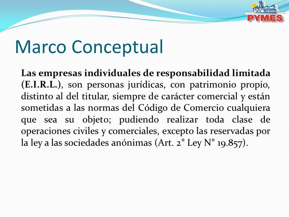 Marco Conceptual Las empresas individuales de responsabilidad limitada (E.I.R.L.), son personas jurídicas, con patrimonio propio, distinto al del titu