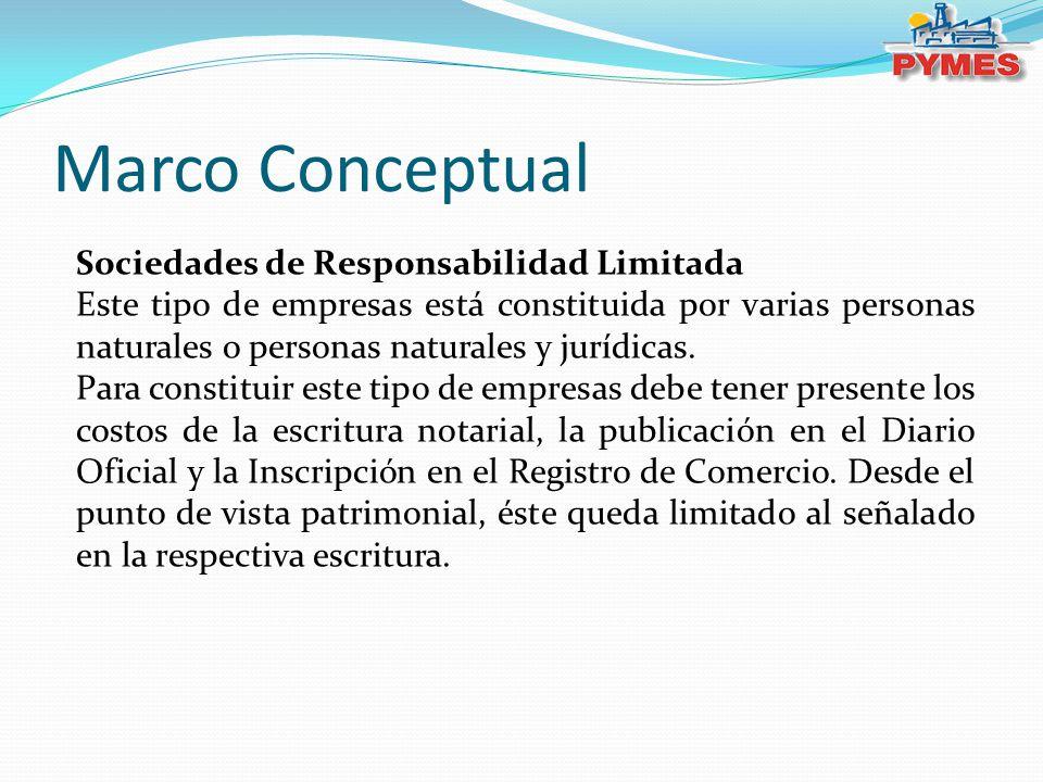 Marco Conceptual Sociedades de Responsabilidad Limitada Este tipo de empresas está constituida por varias personas naturales o personas naturales y ju