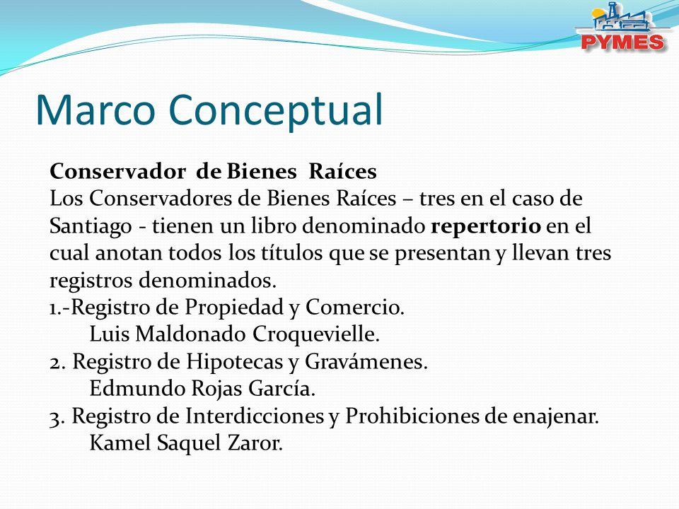 Marco Conceptual Conservador de Bienes Raíces Los Conservadores de Bienes Raíces – tres en el caso de Santiago - tienen un libro denominado repertorio
