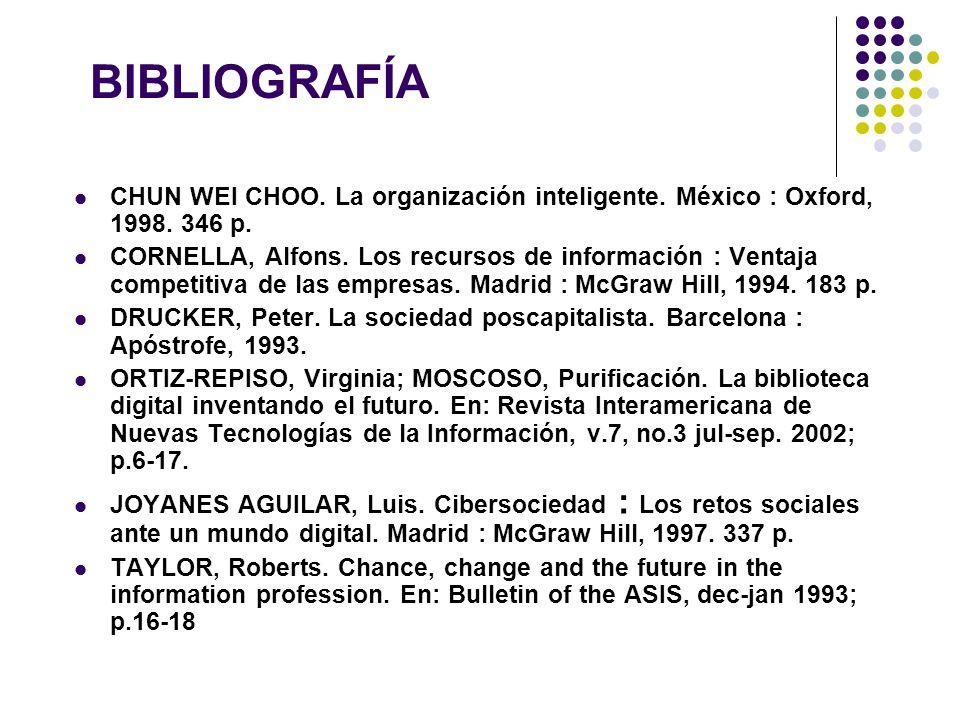 BIBLIOGRAFÍA CHUN WEI CHOO. La organización inteligente. México : Oxford, 1998. 346 p. CORNELLA, Alfons. Los recursos de información : Ventaja competi
