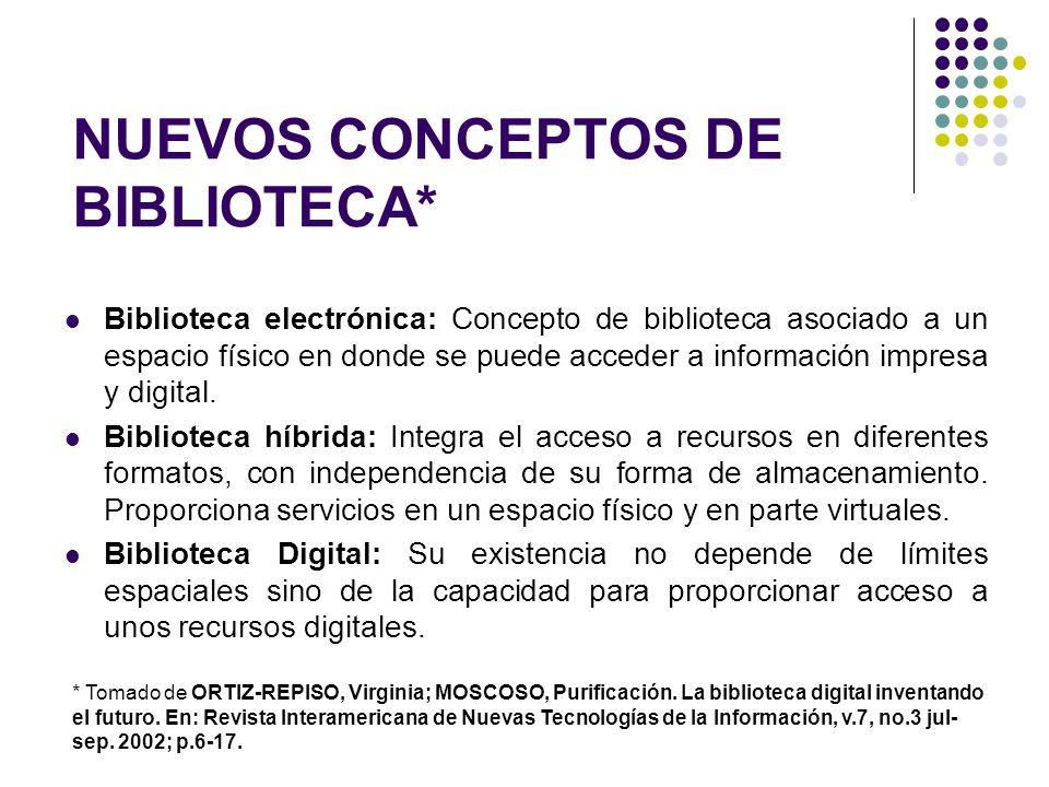 NUEVOS CONCEPTOS DE BIBLIOTECA* Biblioteca electrónica: Concepto de biblioteca asociado a un espacio físico en donde se puede acceder a información im