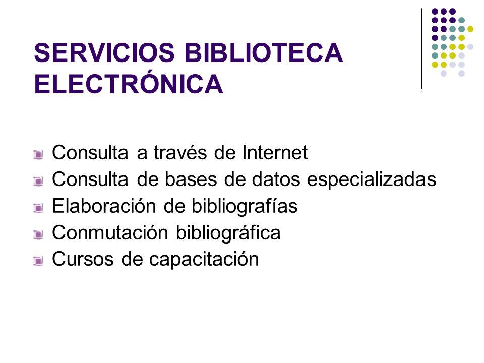 SERVICIOS BIBLIOTECA ELECTRÓNICA Consulta a través de Internet Consulta de bases de datos especializadas Elaboración de bibliografías Conmutación bibl
