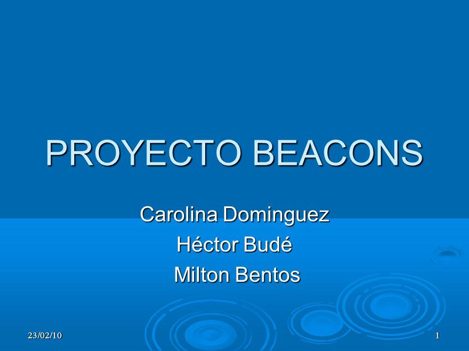 23/02/101 PROYECTO BEACONS Carolina Dominguez Héctor Budé Milton Bentos Milton Bentos