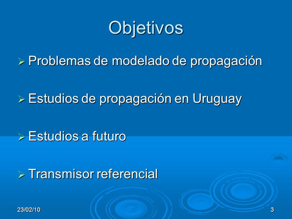 23/02/103 Objetivos Problemas de modelado de propagación Problemas de modelado de propagación Estudios de propagación en Uruguay Estudios de propagación en Uruguay Estudios a futuro Estudios a futuro Transmisor referencial Transmisor referencial