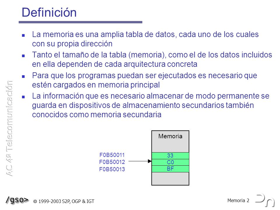 Memoria 33 1999-2003 S2P, OGP & IGT MMU del Pentium LDT: Local Descriptor Table GDT: Global Descriptor Table Descriptor = entrada en la tabla de segmentos Tamaño del descriptor: 8 bytes Número máximo de entradas en cada tabla: 2 13 Base 0-15 Límite Base 24-31 Límite 16-19 TipoDPLPBase 16-23 G0D Granularidad 0: Límite en bytes 1: Límite en páginas