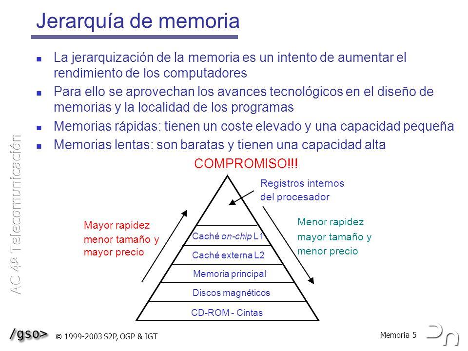 Memoria 6 1999-2003 S2P, OGP & IGT Fragmentación Fragmentación = memoria desaprovechada Puede ser de dos tipos, interna y externa Fragmentación interna Se debe a la diferencia de tamaño entre la partición de memoria y el objeto residente dentro de ella Se produce siempre que se trabaje con bloques de memoria de tamaño fijo Si el tamaño del objeto no coincide con el de la partición, queda una zona que no se puede aprovechar Fragmentación externa Se debe al desaprovechamiento de memoria entre particiones