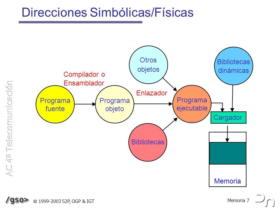 Memoria 8 1999-2003 S2P, OGP & IGT Reubicación La reubicación hace referencia al hecho de poder localizar a los programas para su ejecución en diferentes zonas de memoria Reubicación estática Se realiza antes o durante la carga del programa en memoria Los programas no pueden ser movidos una vez iniciados Reubicación dinámica Los programas pueden moverse en tiempo de ejecución El paso de dirección virtual a dirección real, se realiza en tiempo de ejecución Necesita hardware adicional (MMU)