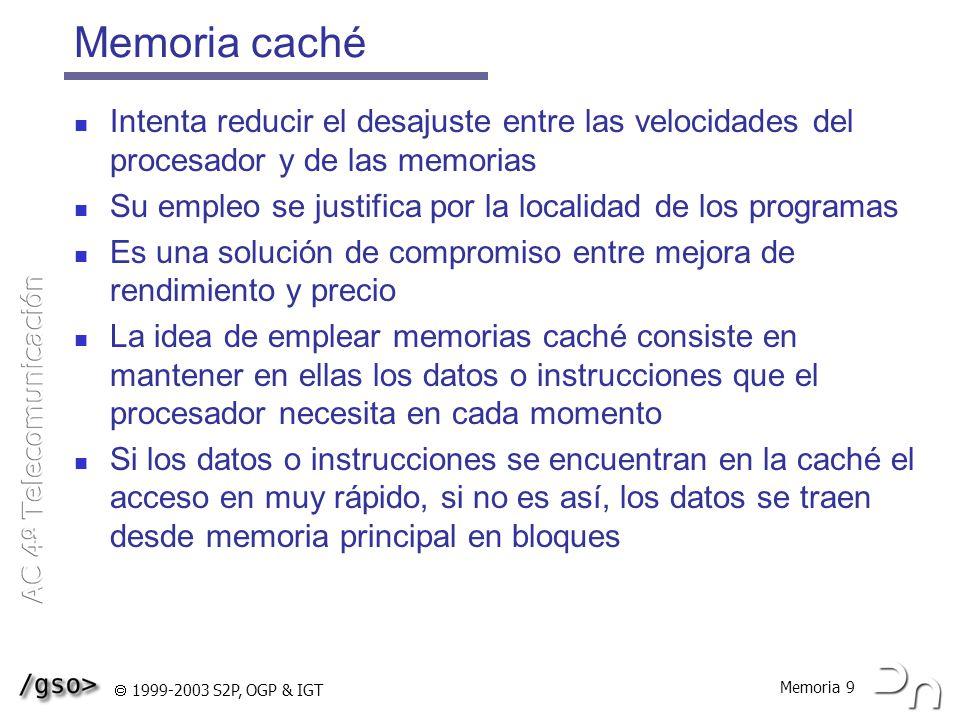 Memoria 10 1999-2003 S2P, OGP & IGT Diseño de la caché A los bloques de transferencia entre memoria principal y memoria caché se les denomina líneas o vías de caché Decisiones de diseño: ¿Qué tamaño deben tener las líneas de caché.