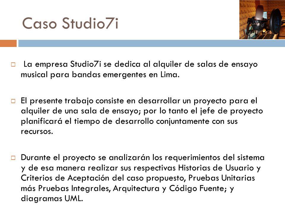 Caso Studio7i La empresa Studio7i se dedica al alquiler de salas de ensayo musical para bandas emergentes en Lima. El presente trabajo consiste en des