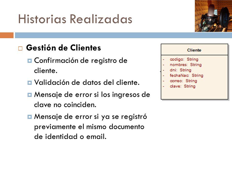 Historias Realizadas Gestión de Clientes Confirmación de registro de cliente. Validación de datos del cliente. Mensaje de error si los ingresos de cla